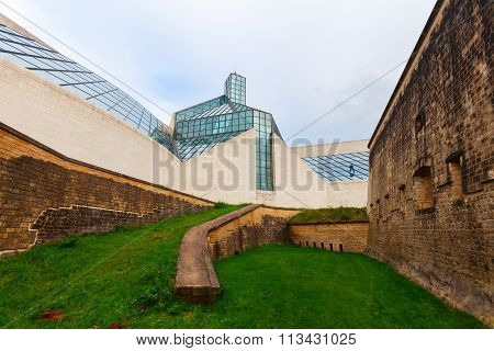 LUXEMBOURG, LUXEMBOURG - NOVEMBER 04, 2015: Fort Thuengen and Museum for Modern Art -MUDAM- on Kirchberg plateau. Demolished 1867 it was reconstructed 2002 parallel to construction of the MUDAM beside
