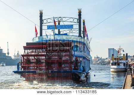 HAMBURG, GERMANY - MARCH 09: Louisiana Star on March 09, 2014 in Hamburg. It's a passenger ship that is based on an American sternwheeler and used for harbor tours in Hamburg.