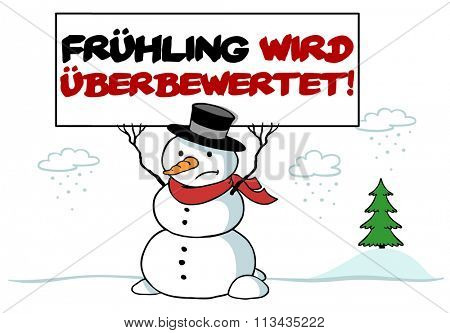 Snowman in winter with German slogan
