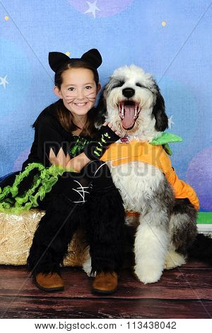 Sweet Halloween Photo Of Little Girl And Her Puppy