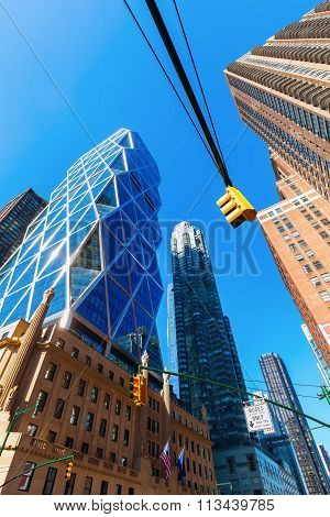 NEW YORK CITY - OCTOBER 12, 2015: Hearst Tower in NYC. 182 m high, it was designed by Norman Foster and received the 2006 Emporis Skyscraper Award as best skyscraper in the world completed that year.
