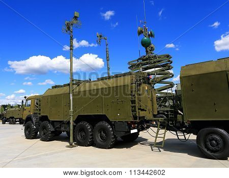 MOSCOW REGION  - JUNE 17: Military vehicle antennas for field communication  -  on June 17, 2015 in Moscow region