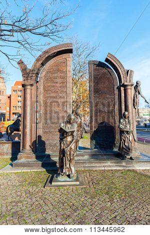 HANOVER, GERMANY - DECEMBER 03, 2015: bronze monument Goettinger Sieben. It shall remember for 7 professors who protested 1837 against the abolition of the constitution of the Kingdom of Hanover