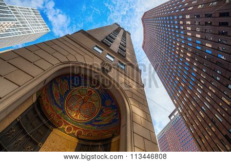 NEW YORK CITY - OCTOBER 08, 2015: door detail, 75 Broad Street, Manhattan, former headquarters of ITT. ITT Corp is a global manufacturing company producing specialty components for industrial markets