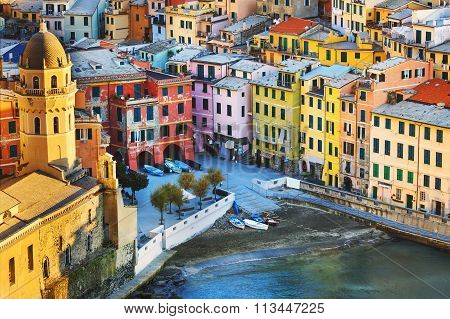 Vernazza Village, Church And Buildings Aerial View. Cinque Terre, Ligury, Italy