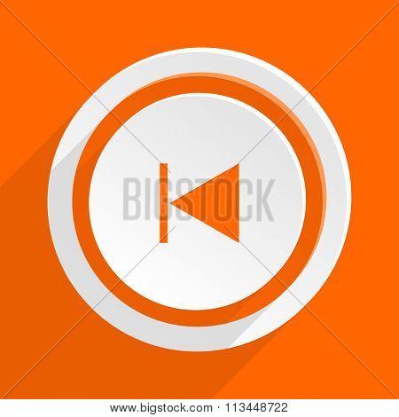 prev orange flat design modern icon for web and mobile app