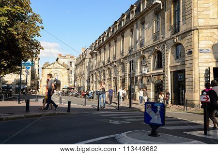 BORDEAUX, FRANCE - AUGUST 13, 2015: streets of Bordeaux. Bordeaux is a port city on the Garonne River in the Gironde department in southwestern France.