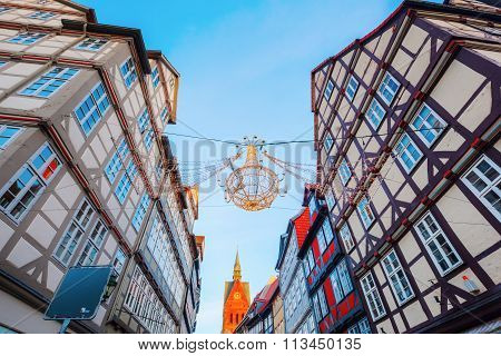 HANOVER, GERMANY - DECEMBER 03, 2015: old town of Hanover at christmas. Hannover is the capital of Lower Saxony and one of the 15 biggest cities in Germany.