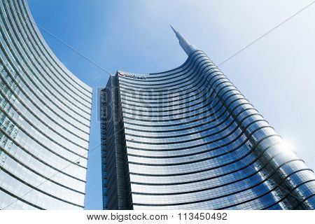 MILAN, ITALY - FEBRUARY 22: Uni-Credit Tower on February 22, 2014 in Milan. The largest of three skyscrapers on one areal is with 213 m the largest in Italy. Uni-Credit is an Italian financial holding
