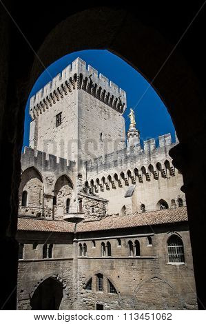 Avignon, France - September 21, 2015: Palais des Papes - Palace of the Popes - in Avignon France. 2015