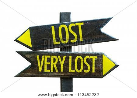 Lost - Very Lost signpost isolated on white background