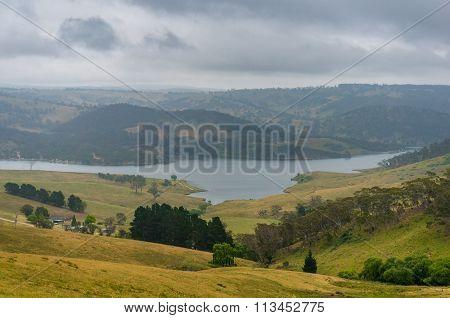Beautiful Australian Countryside With Lake Lyell. Nsw, Australia