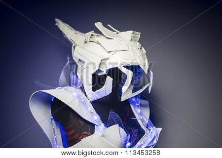bionic armor with blue LED lights and plastic materials