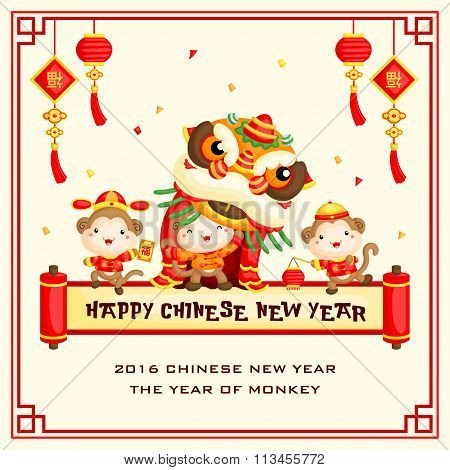 Chinese New Year Monkey Year Greeting Card