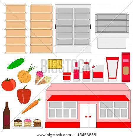A set of shelves and foodstuffs. Grocery store. Isolated objects on white background. poster