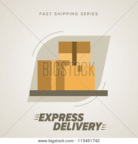 Delivery goods, shipping service. Express delivery sign. Express delivery illustration. Delivery service icon.Express delivery icon. Cargo delivery. Express delivery package. Post service, order. Symbol of express delivery. Express delivery vector icon.