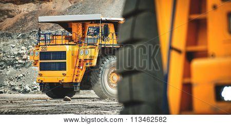Big yellow mining truck. Belaz.