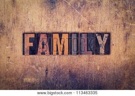 Family Concept Wooden Letterpress Type