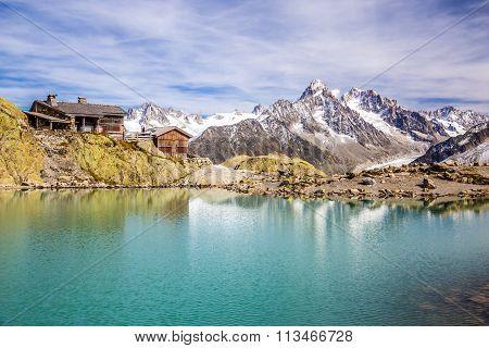 View Of Lac Blanc Lac Blanc Refuge Aiguille du Tour Aiguille du Chardonnet And Glacier d Argentiere-France poster