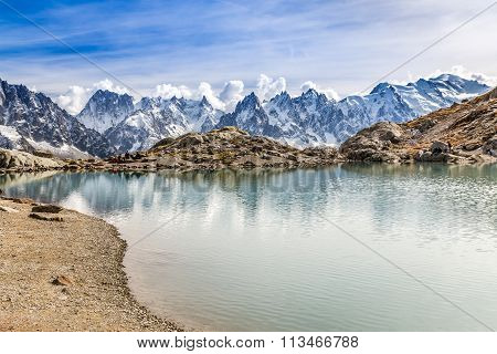 Lac Des Cheserys And Mont Blanc - France