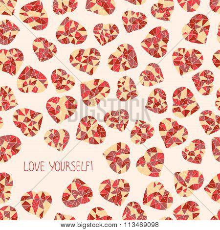 'Love yourself!' selfish postcard. Valentine's Day