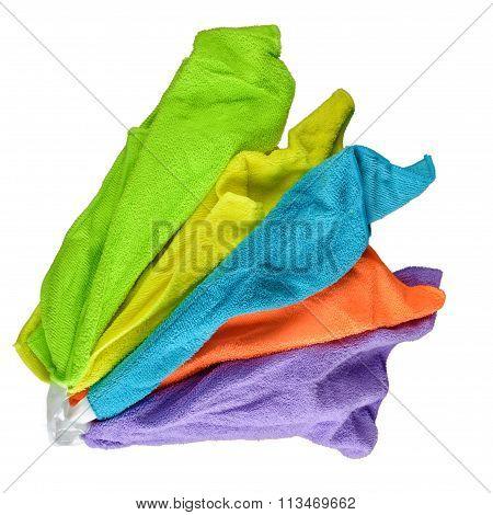 Set of colorful microfiber cloths