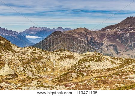 Mountain Range With Les Grandes Otanes-france