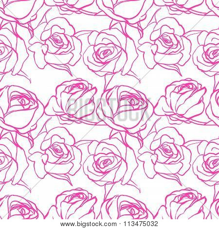 Seamless floral pattern, different flowers. Beautiful flowers. delicate wedding pattern. Line art. S