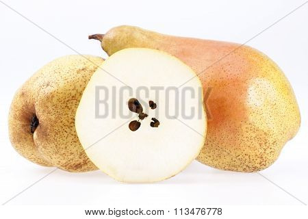 Some Fruits Of Abate Fetel Pear Isolated On White Background