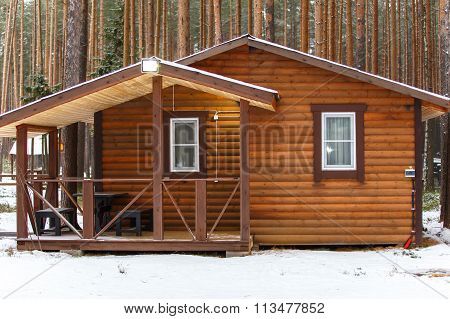 Big Wooden Bathhouse In Winter