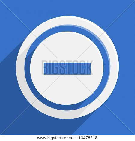 minus blue flat design modern vector icon for web and mobile app