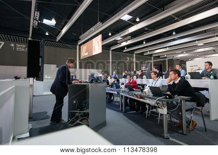 Barcelona, Spain - November 10, 2015: People In Training Zone With Notebooks On Tables At Sap Teched