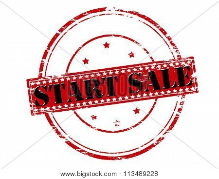 Rubber stamp with text start sale inside vector illustration