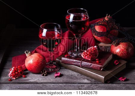 Pomegranate Juice In Wine Glasses