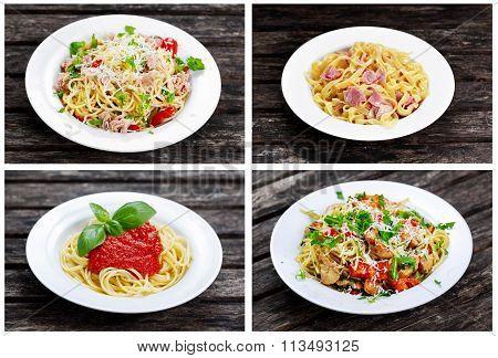 Set Of Italiana Meals Pasta. Chicken, Tuna, Marinara, Carbonara