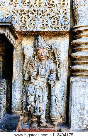 Artistic statue of Lord MahaVishnu at Chennakesava temple, Belur taken on December 30th, 2015