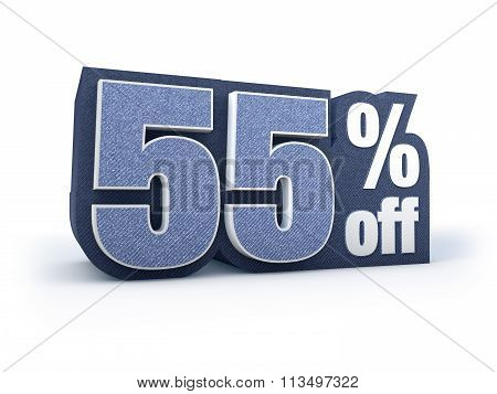 55 Percent Off Denim Styled Discount Price Sign