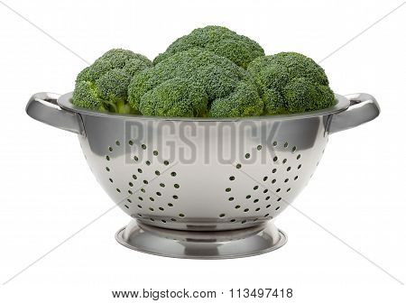 Fresh Broccoli In A Stainless Steel Colander