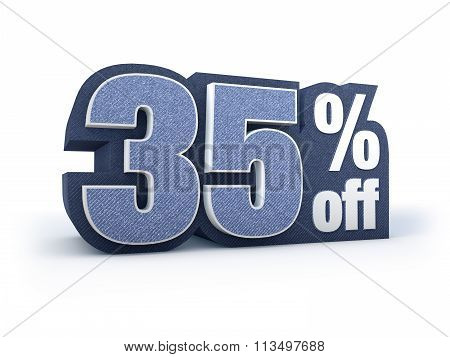 35 Percent Off Denim Styled Discount Price Sign