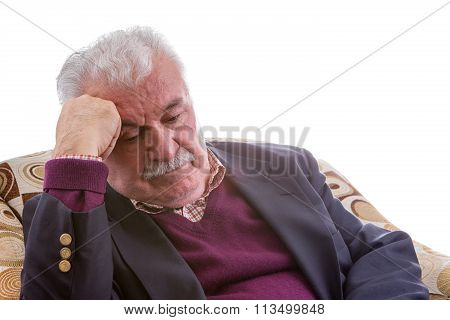Tired Elderly Retired Man Sitting Thinking