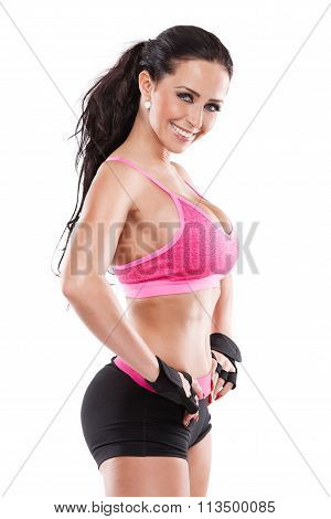 Posing Beautiful Fitness Sexy Woman