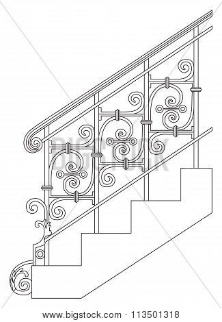 Black forged metal railings with floral motifs. Vector