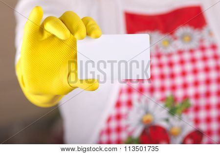 Cleaning Lady Showing Business Card