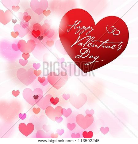 Romantic Background With Hearts And Valentines Wish