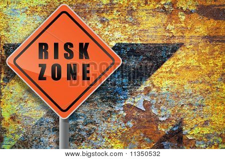 Traffic Sign Risk Zone Grunge Background.
