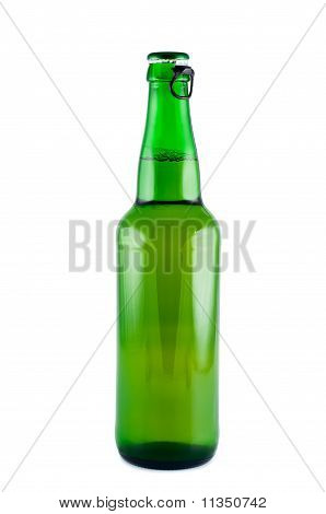 Bottle Of Beer A Picture In Studio  Isolated On White Background.