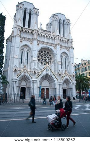 Cathedral In Nice, French Riviera, During A Winter Day