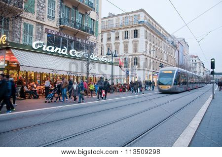 Central Street Of Nice , French Riviera, During A Winter Day