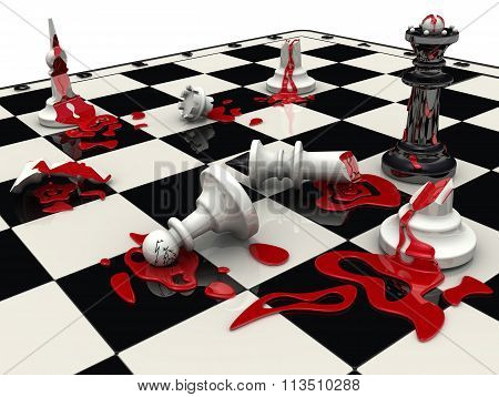 Chess game. The black pieces won
