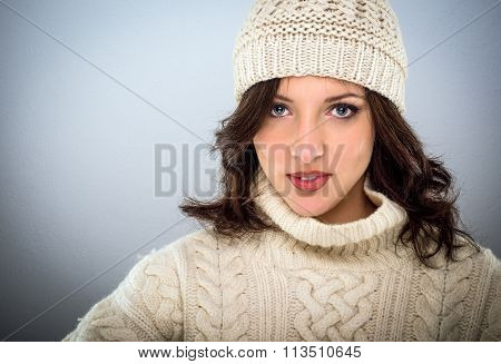 Pretty Young Woman In Winter Woollens